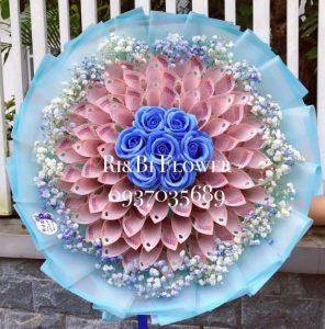 Bó hoa tiền 50k xanh hoa bi