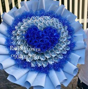 Hoa tiền 5k tim xanh