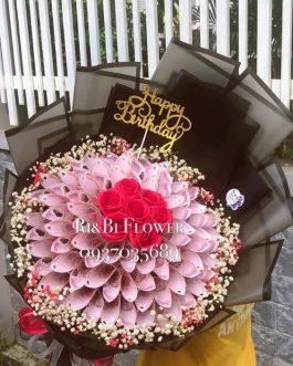 Bó hoa tiền 50k bi tươi màu trắng đỏ